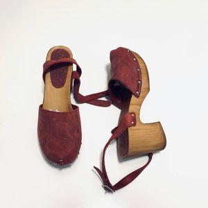 ASOS Leather wood clog mule